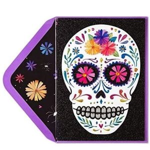3/$20 Papyrus Skull Day-of-the-Dead Halloween Card